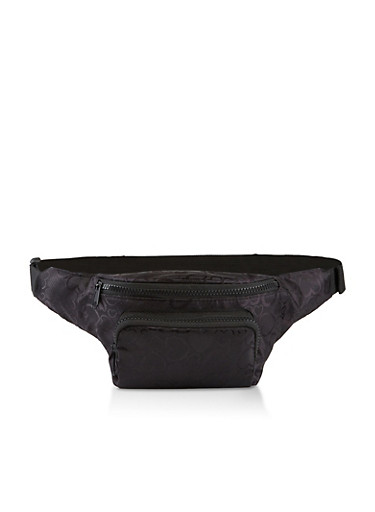 Heart Print Fanny Pack,BLACK,large