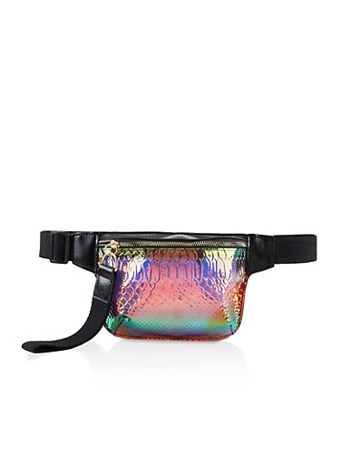 Embossed Holographic Single Zip Fanny Pack,BLACK,large