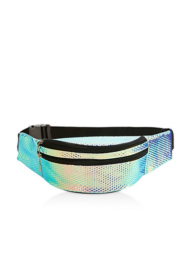 Iridescent Prism Textured Fanny Pack,SILVER,large