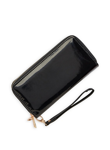 Faux Patent Leather Double Zip Wallet,BLACK,large