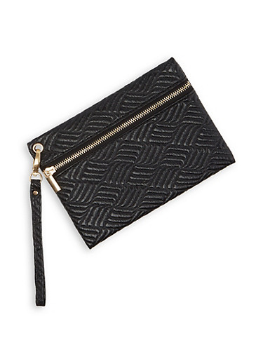 Quilted Faux Leather Wristlet,BLACK,large