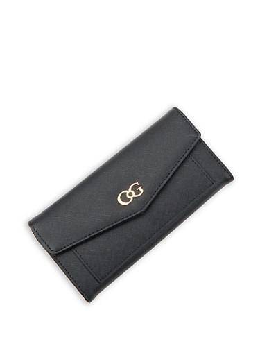 Faux Leather Flap Wallet,BLACK,large