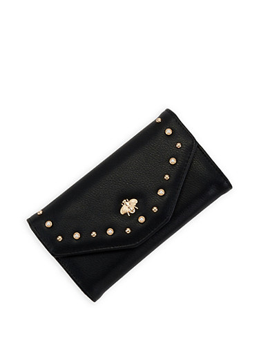 Studded Faux Leather Envelope Wallet,BLACK,large