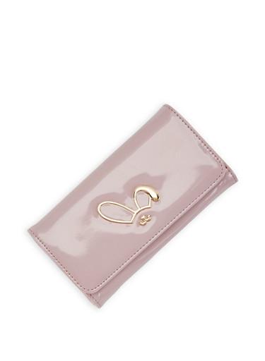 Metallic Bunny Detail Flap Wallet,LILAC,large
