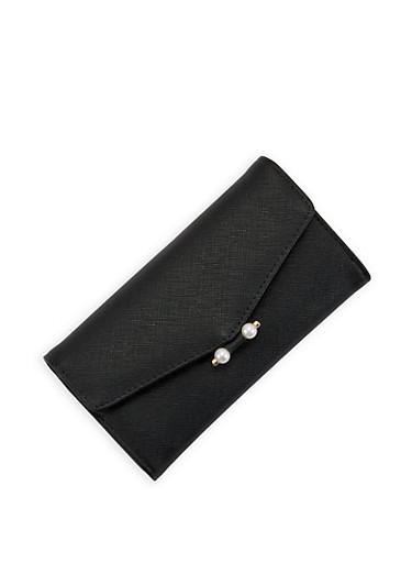 Faux Saffiano Leather Envelope Wallet,BLACK,large