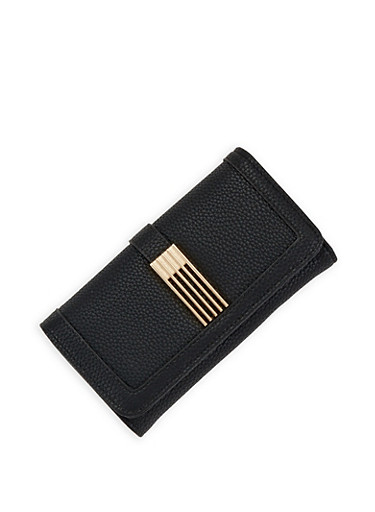 Pebbled Faux Leather Wallet,BLACK,large