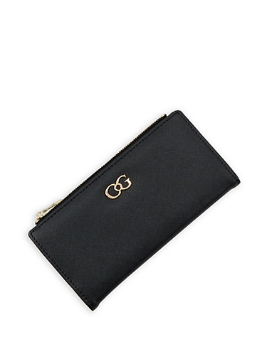 Textured Faux Leather Wallet,BLACK,large