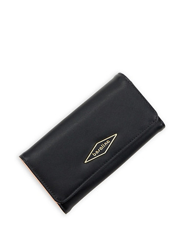 Faux Leather Fold Over Wallet,BLACK,large