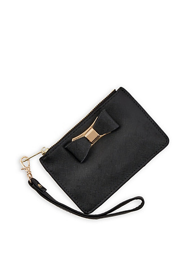 Faux Leather Bow Mini Wristlet,BLACK,large