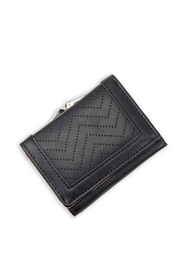 Faux Leather Kiss Lock Tri Fold Wallet,BLACK,large