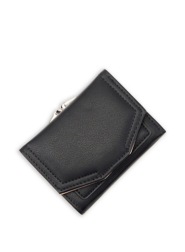 Small Faux Leather Flap Wallet,BLACK,large