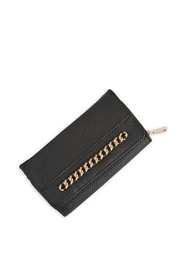 Chain Detail Faux Leather Wallet,BLACK,large
