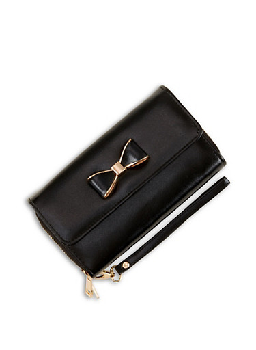 Bow Flap Double Zip Wallet,BLACK,large