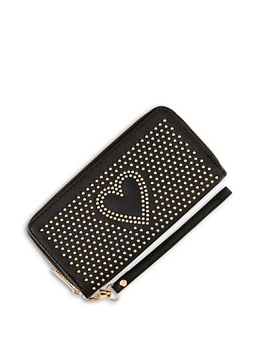 Heart Studded Zip Wallet,BLACK,large