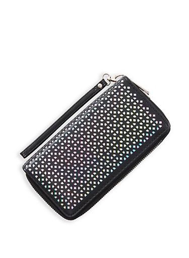 Laser Cut Double Zip Wallet,BLACK,large