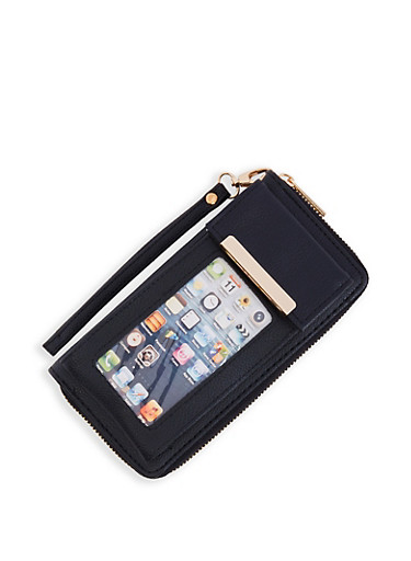 Cellphone Pouch Wallet,BLACK,large
