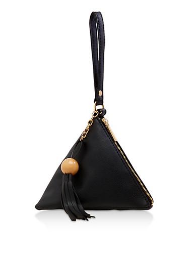 Large Tassel Pyramid Wristlet,BLACK,large