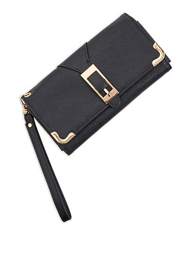 Faux Saffiano Leather Buckle Detail Flap Wallet,BLACK,large