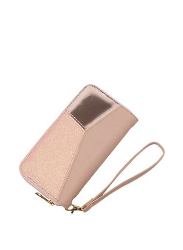 Faux Leather Glitter Color Block Wallet,BLUSH,large