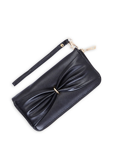 Faux Leather Bow Detail Zip Wallet,BLACK,large