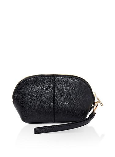 Faux Leather Wristlet,BLACK,large