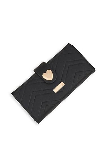 Heart Detail Wallet,BLACK,large