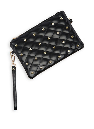 Studded Quilted Clutch,BLACK,large