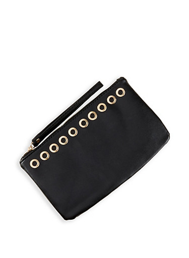 Grommet Detail Clutch,BLACK,large