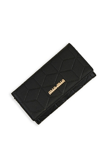 Embossed Faux Leather Flap Wallet,BLACK,large