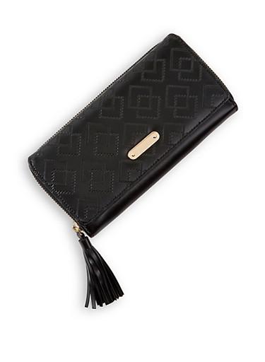 Embossed Single Zip Wallet,BLACK,large