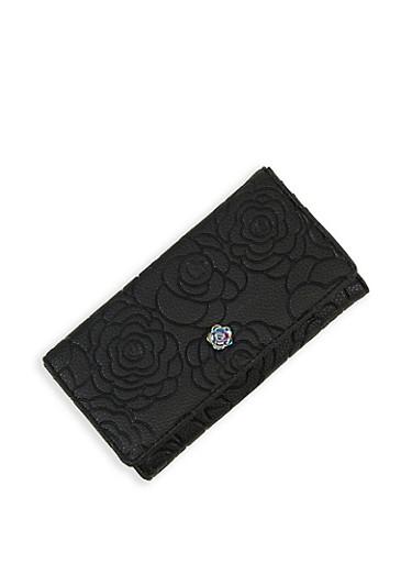 Flower Embossed Flap Wallet,BLACK,large