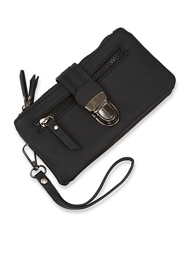 Double Zip Wristlet,BLACK,large