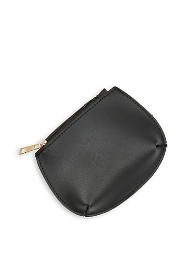 Single Zip Coin Pouch,BLACK,large