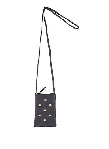 Heart Studded Crossbody Bag,BLACK,large