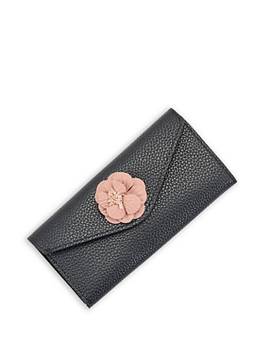 Pebbled Faux Leather Flower Envelope Wallet,BLACK,large