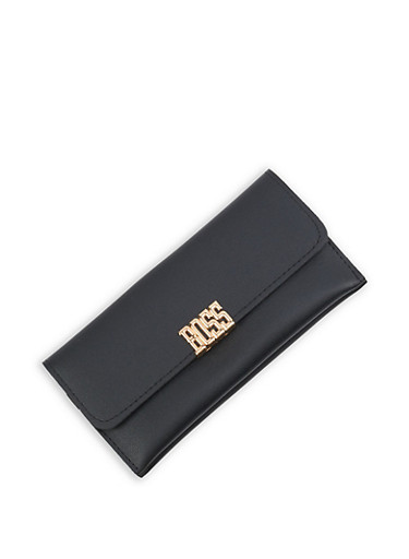 Metallic Boss Detail Faux Leather Wallet,BLACK,large