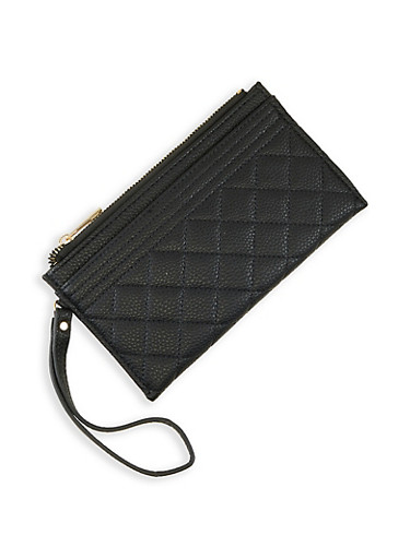 Quilted Zip Wristlet,BLACK,large