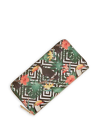 Toucan Print Wallet,GREEN,large