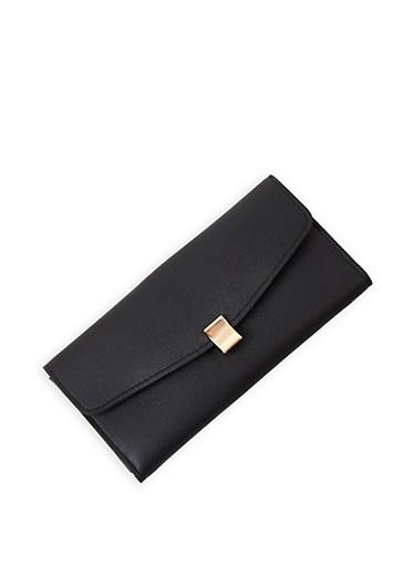 Faux Leather Tri Fold Wallet,BLACK,large