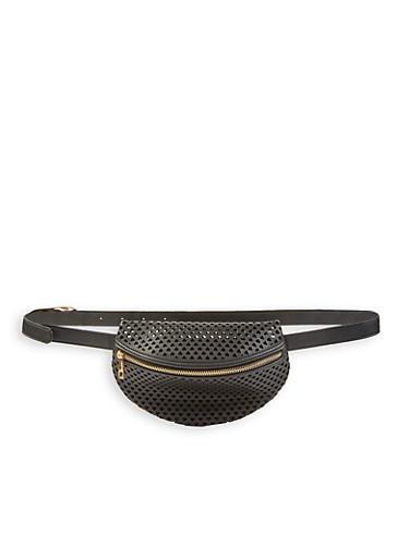 Heart Perforated Belt Bag,BLACK,large