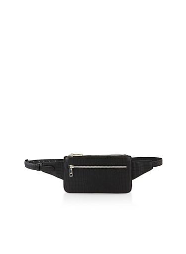 Faux Croc Leather Belt Bag,BLACK,large