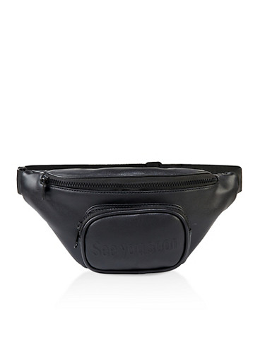 See You Soon Faux Leather Fanny Pack,BLACK,large