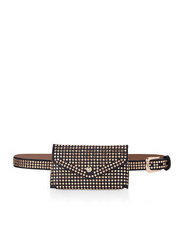 Studded Belt Bag,BLACK,large