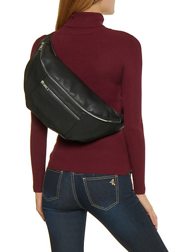 Oversized Double Zip Fanny Pack,BLACK,large