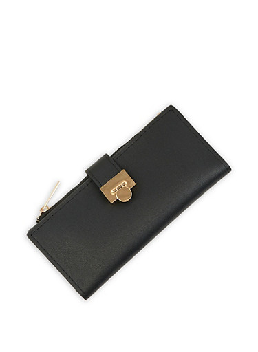 Metallic Flap Wallet,BLACK,large