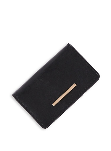 Small Faux Leather Wallet,BLACK,large