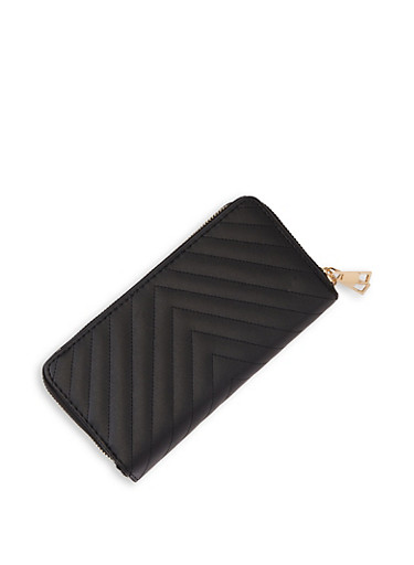 Chevron Quilted Double Zip Wallet,BLACK,large