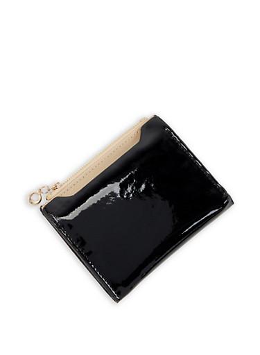 Faux Patent Leather Bifold Wallet,BLACK,large