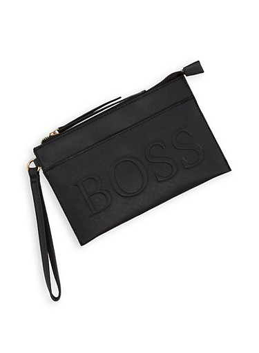 Boss Graphic Embossed Clutch,BLACK,large