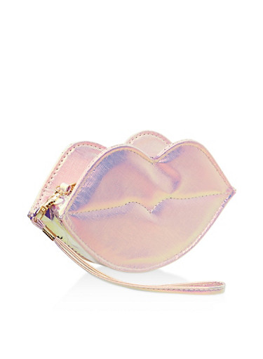 Holographic Faux Leather Lip Wristlet,PINK,large